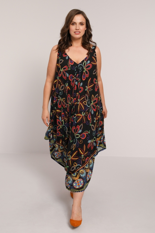 printed harem pants jumpsuit