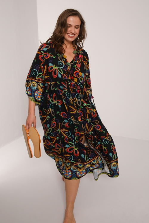 Long printed fibranne dress