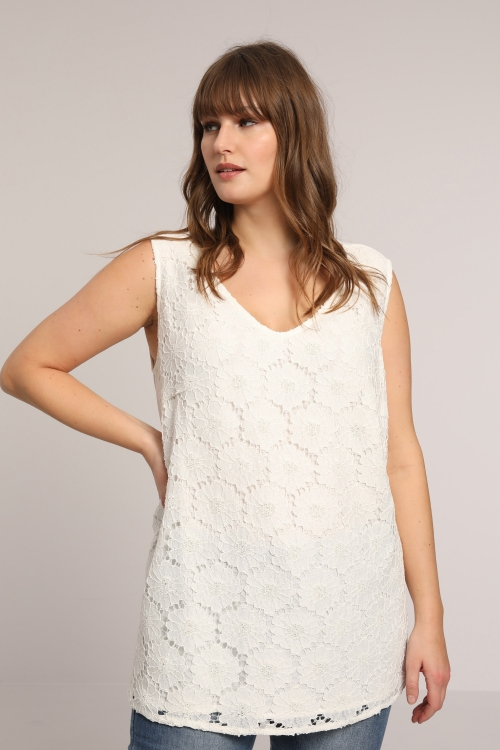 Lace and crepe tank top