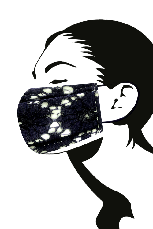 Mask N ° 28/3-layer mask with washable lace finish