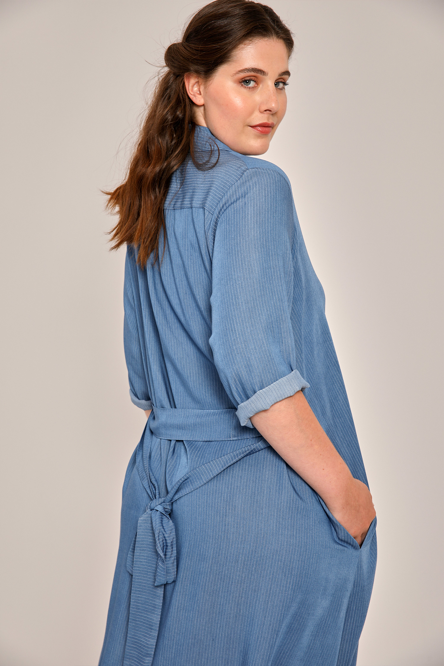 Denim viscose shirt dress