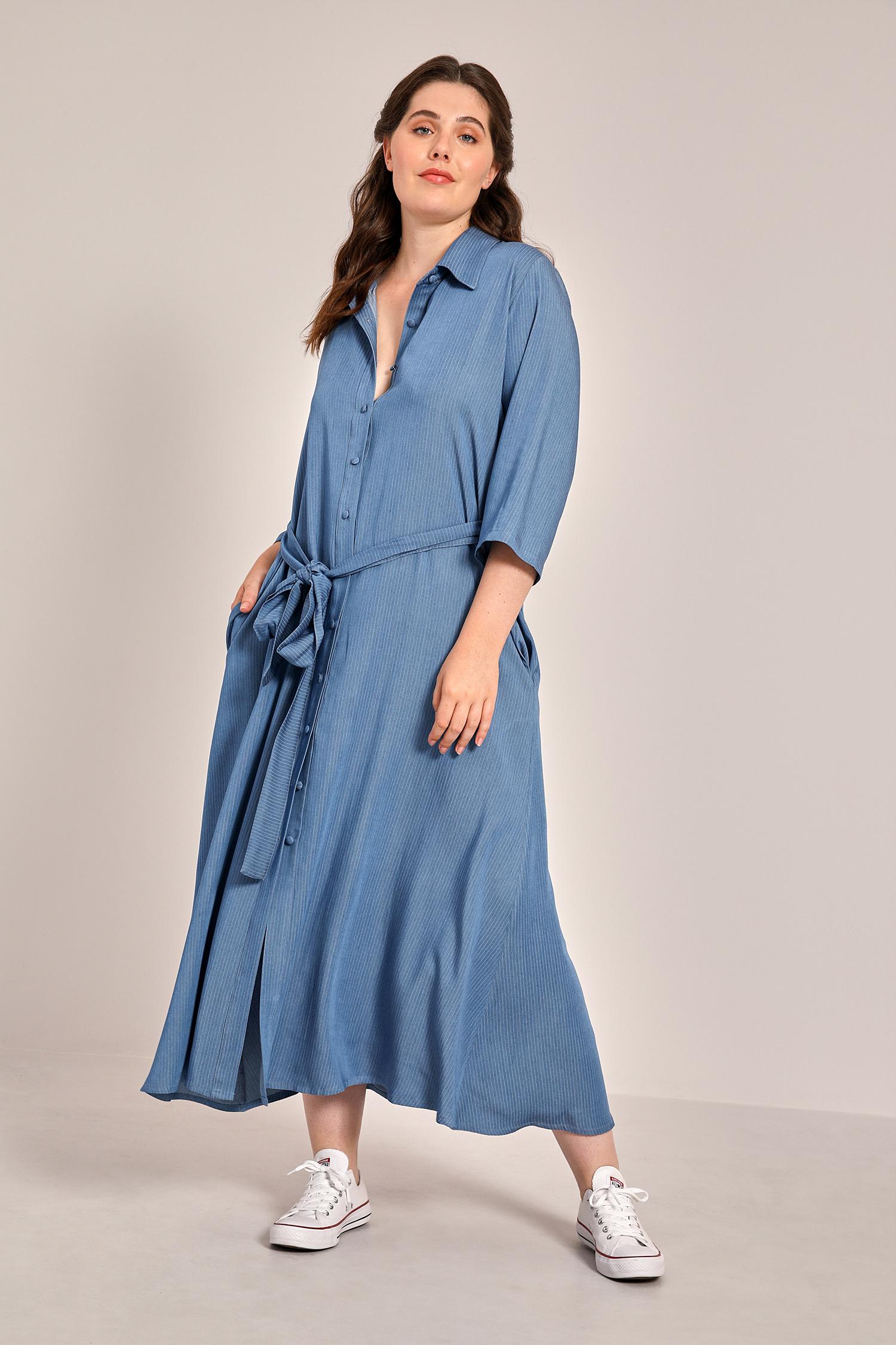 Denim viscose shirt dress