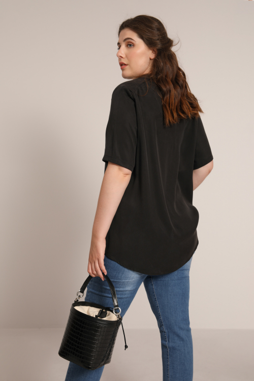 Plain viscose trapeze shirt