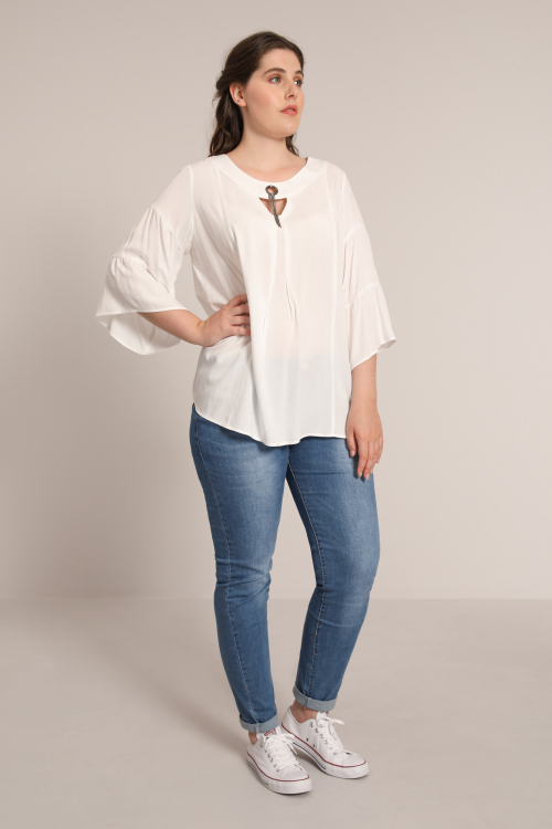 Plain viscose blouse with a decorative ring