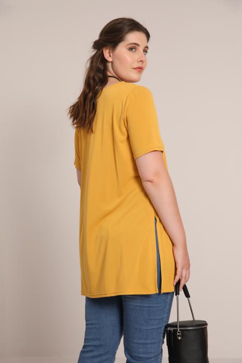 Long plain modal T-shirt