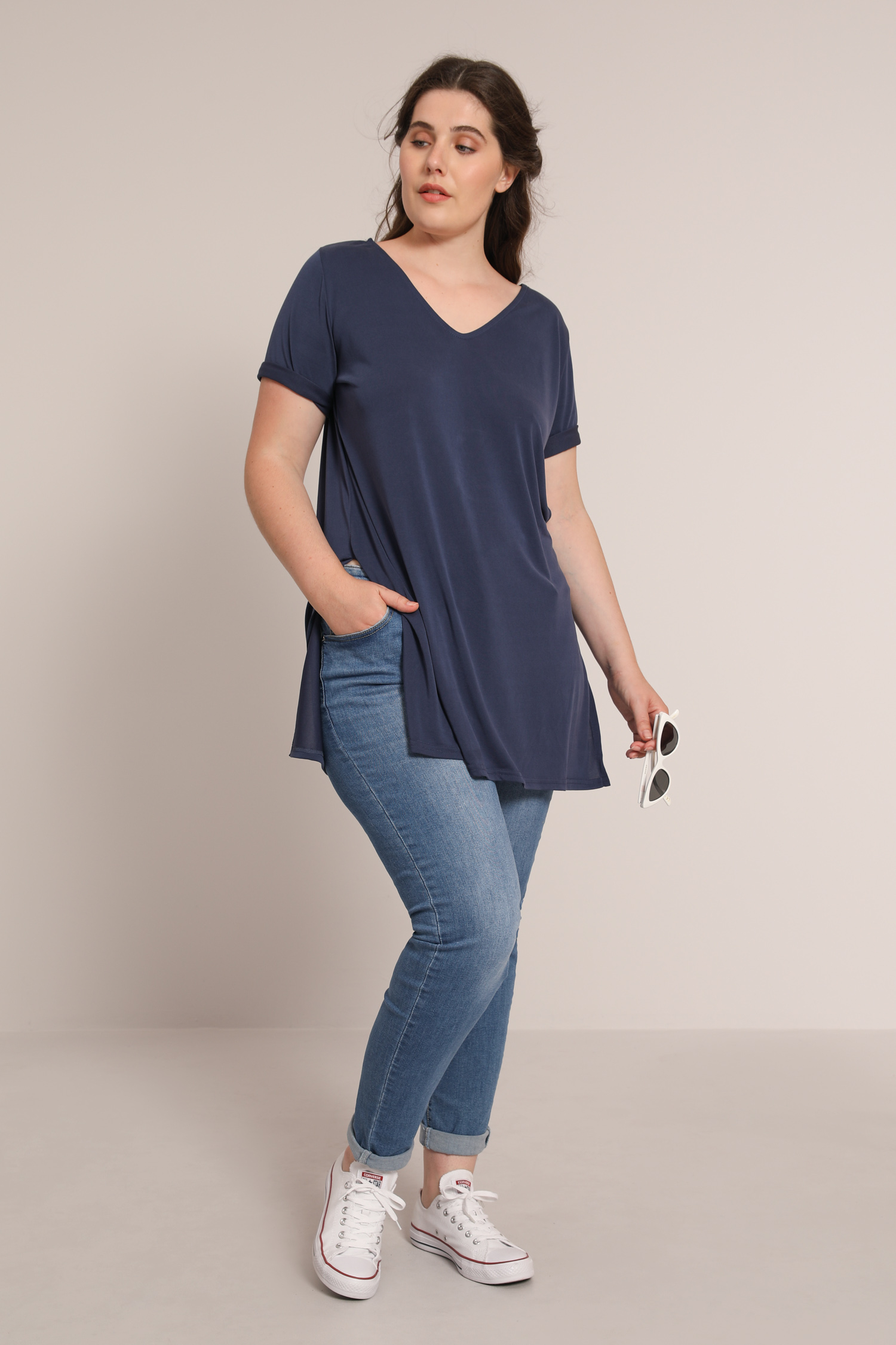 Long plain modal T-shirt