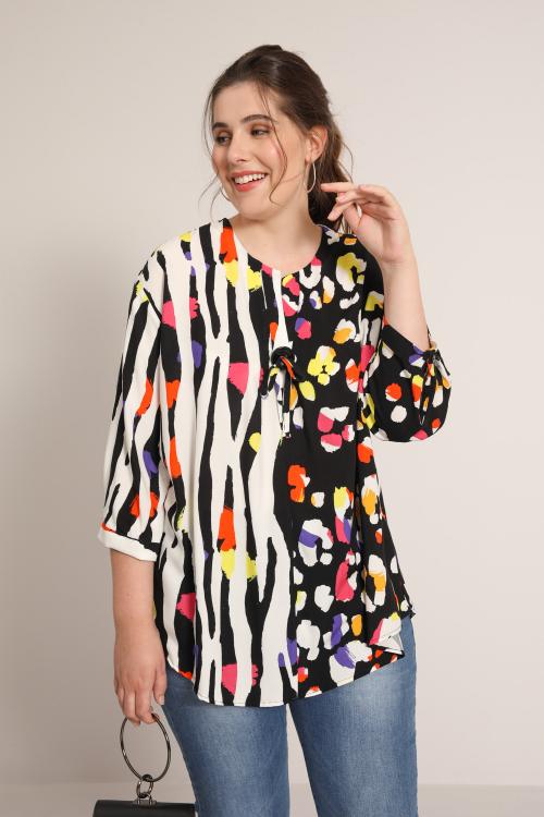 Printed fibran blouse