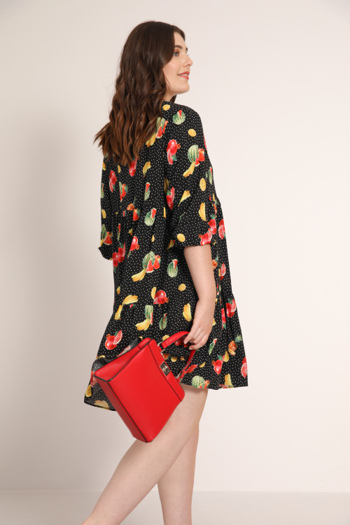 Printed ruffle tunic / dress