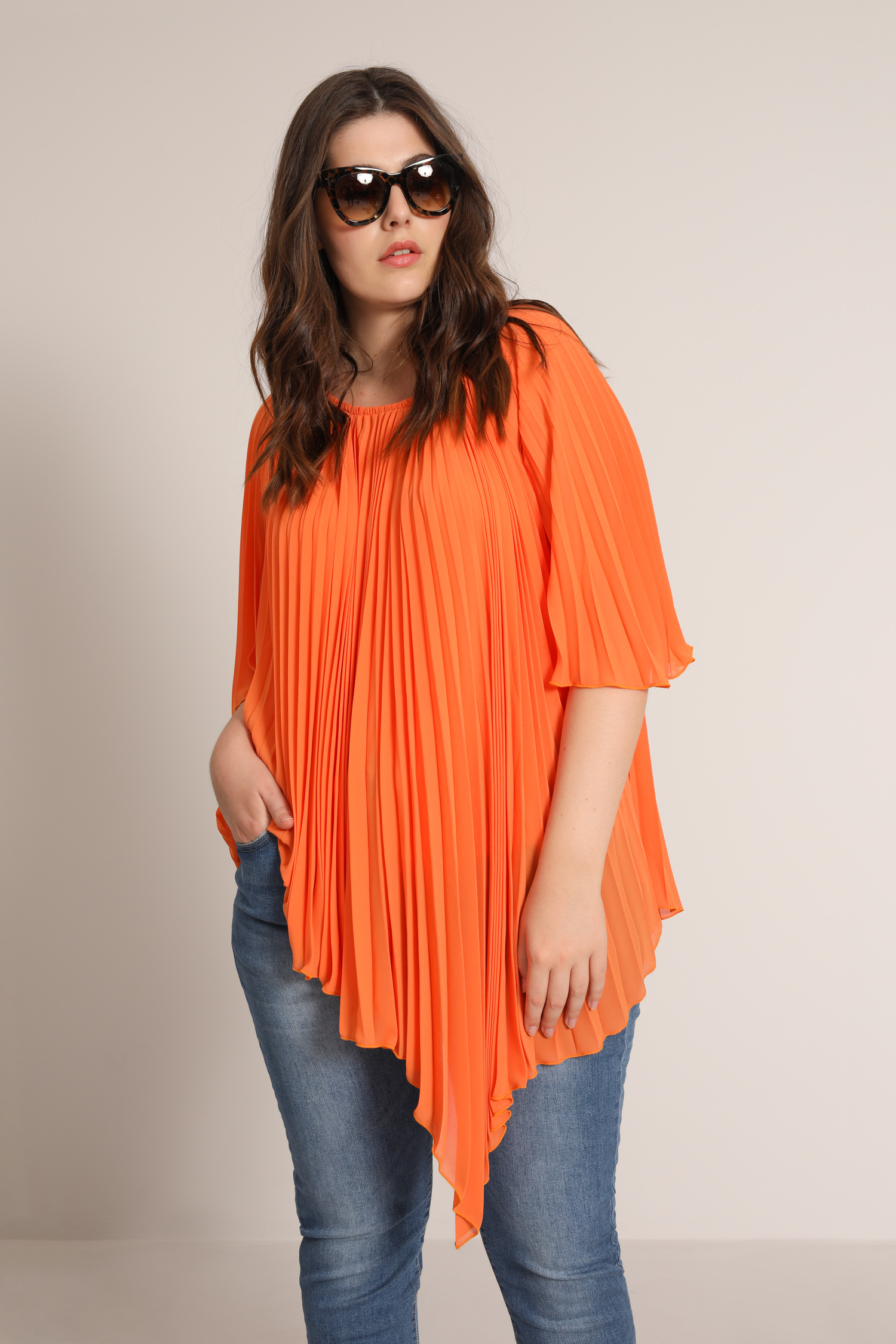 Plain pleated sun blouse