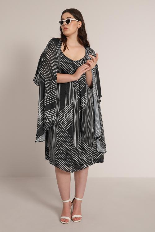 Fluid cardigan in printed veil