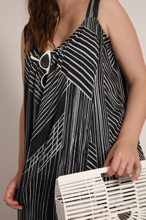 Printed veil strap dress