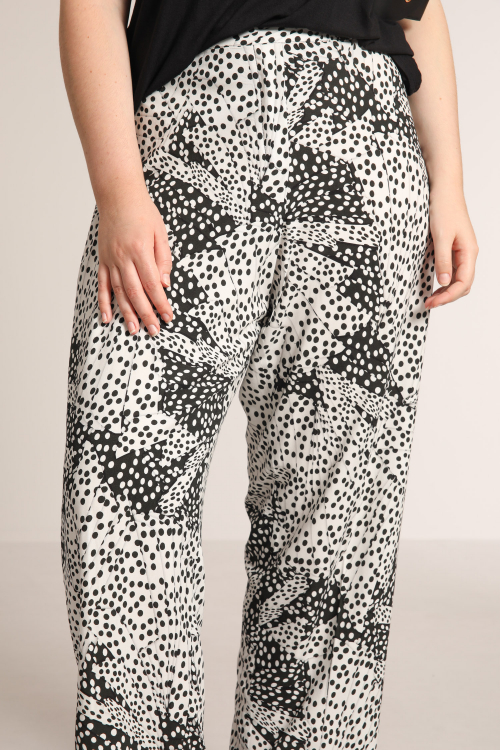 "Fibranne pants printed with ""big dots""."