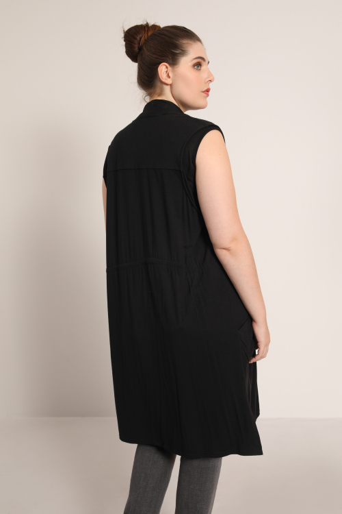 Sleeveless cardigan with waterfall collar
