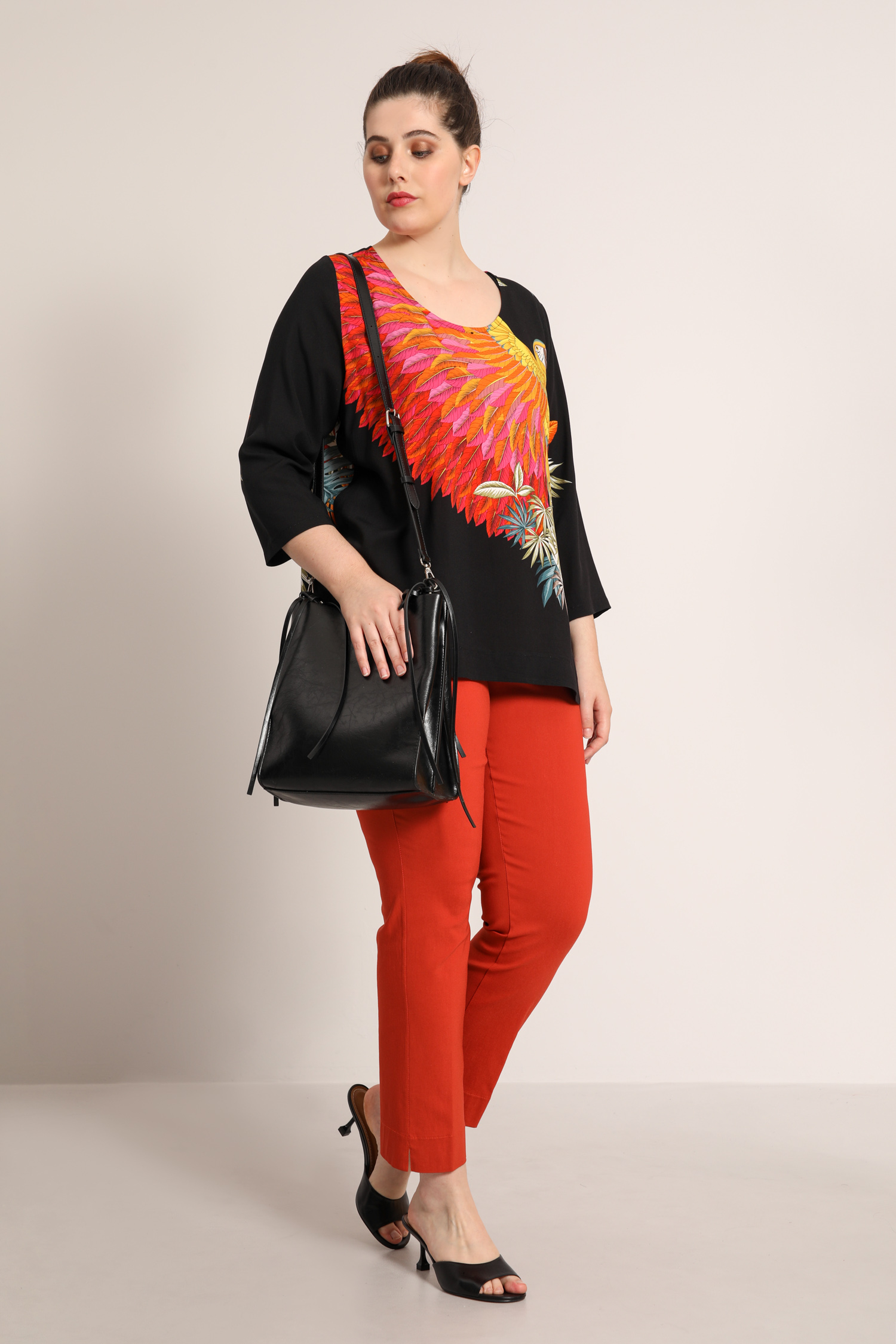 Printed blouse with placed design