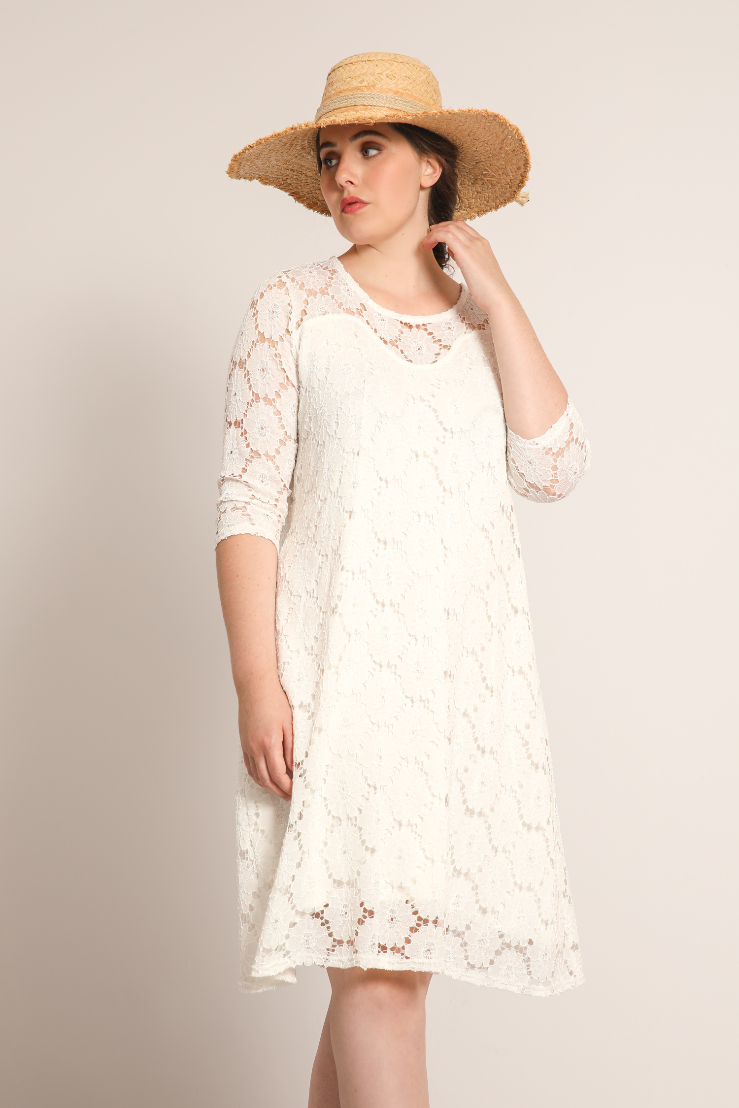 Straight lined lace dress