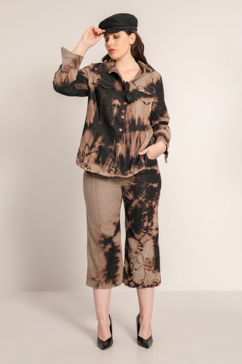 Flared jeans with semi bootcut tie and dye cut (Delivery 15/07)