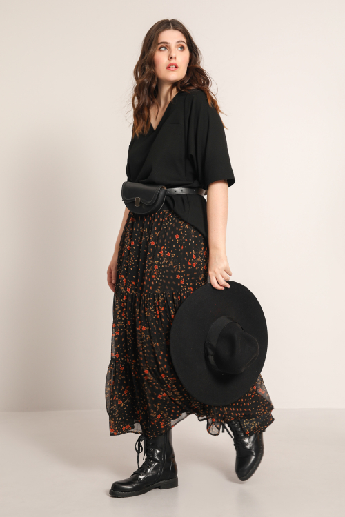 Printed ruffle skirt in veil (Delivery 15/07)