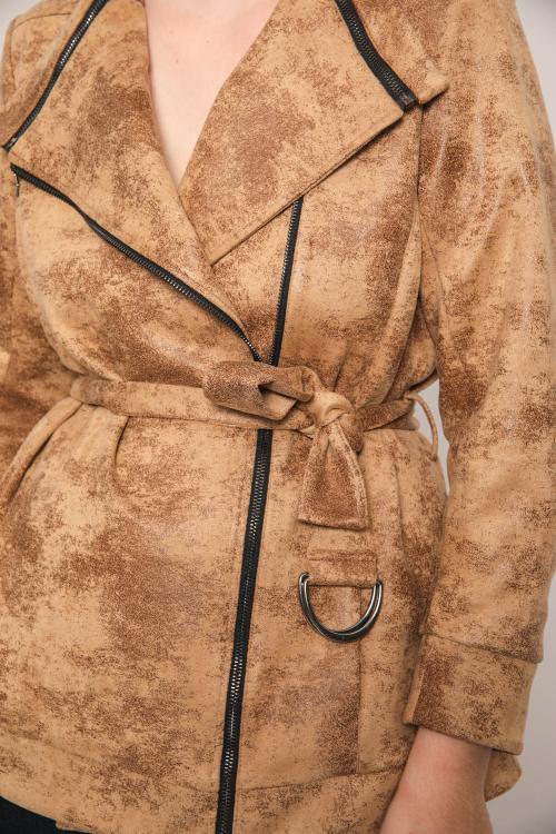 Short jacket with vegan leather belt