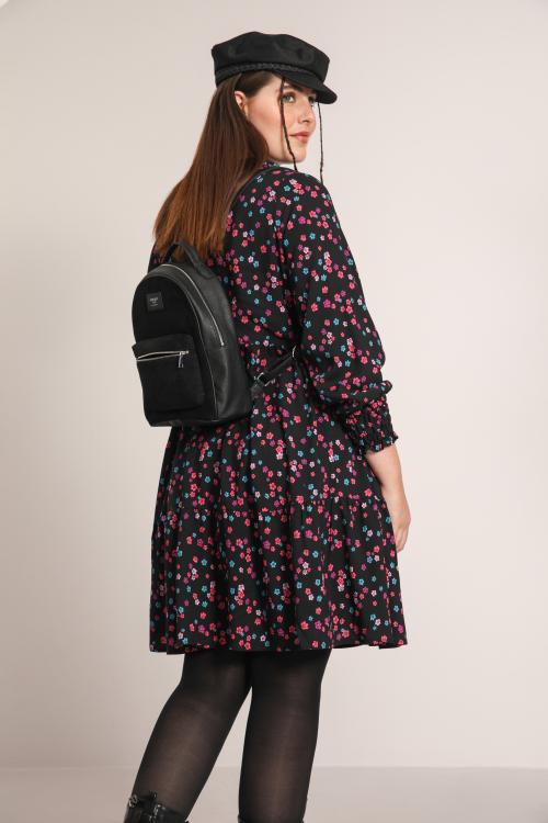 Printed dress with zip neck