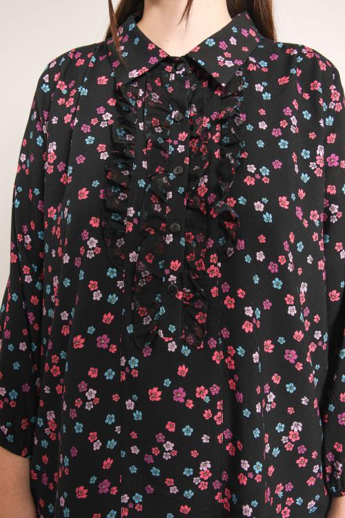 Floral print shirt collar blouse