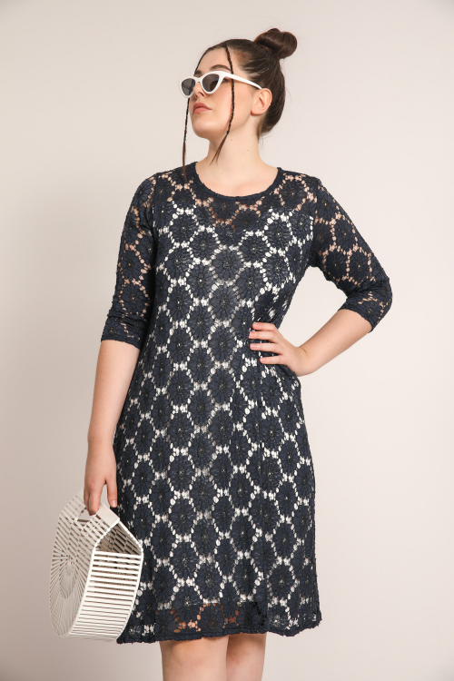 Lined lace straight dress