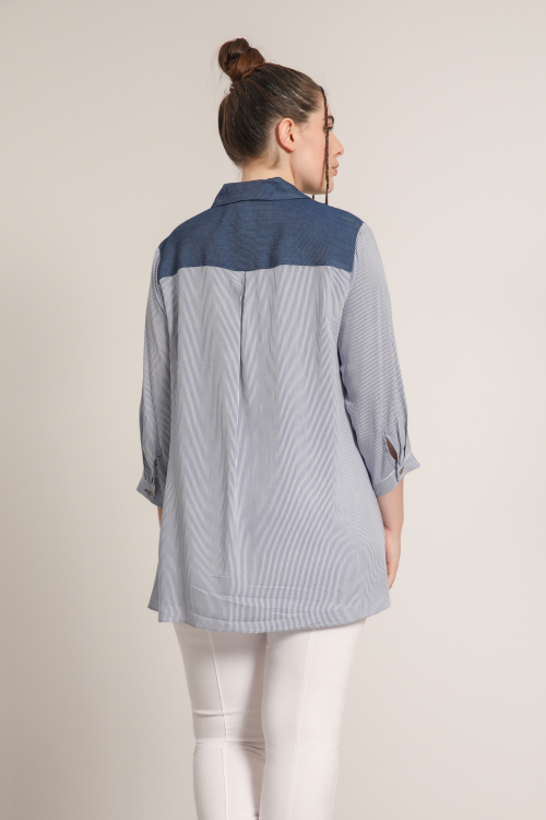 Striped blouse with screen printing