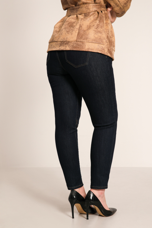High elastic waist raw jegging jeans