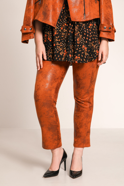Straight-cut faux leather pants