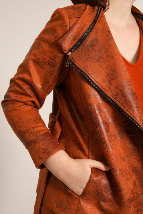 Short jacket with vegan leather belt