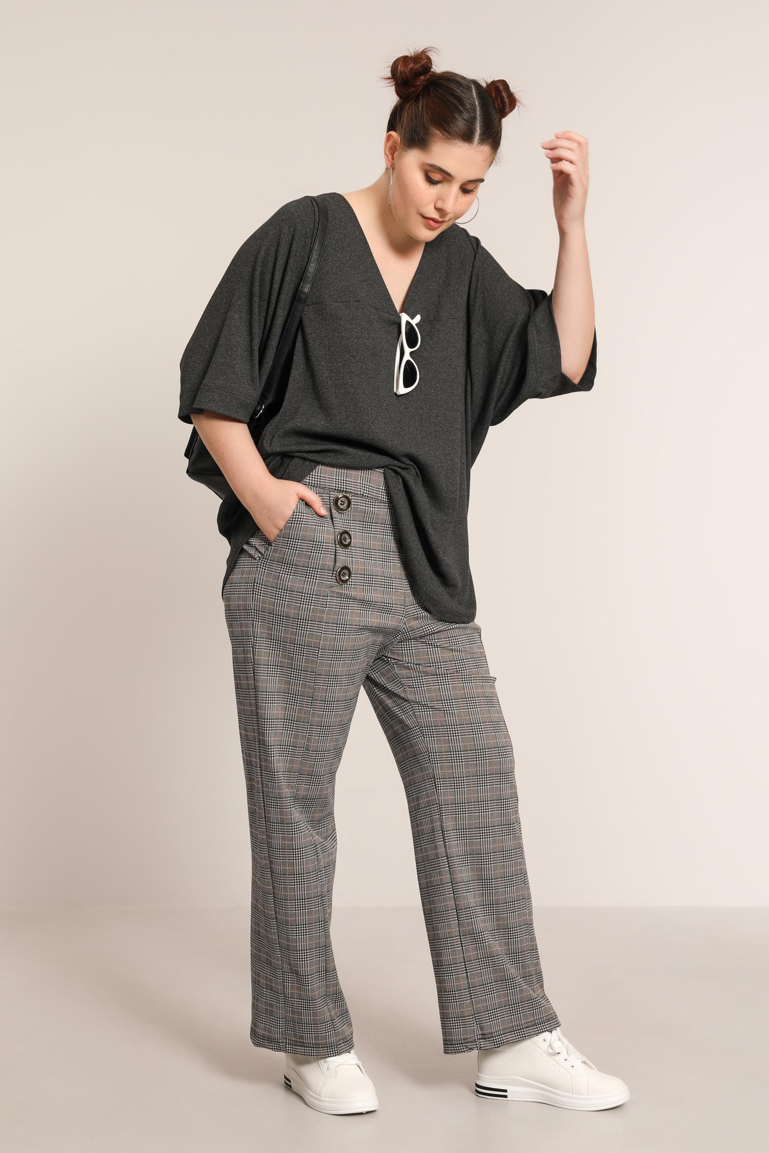 Checked mesh pants