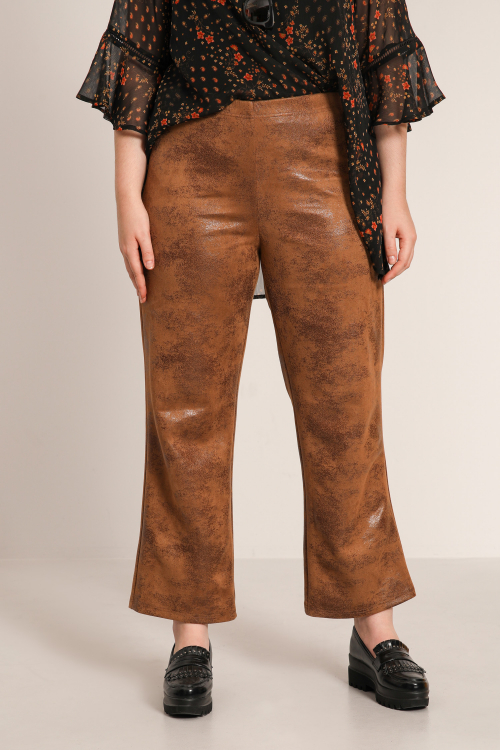 Aged vegan leather pants