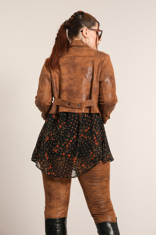 Cropped biker jacket in aged vegan leather