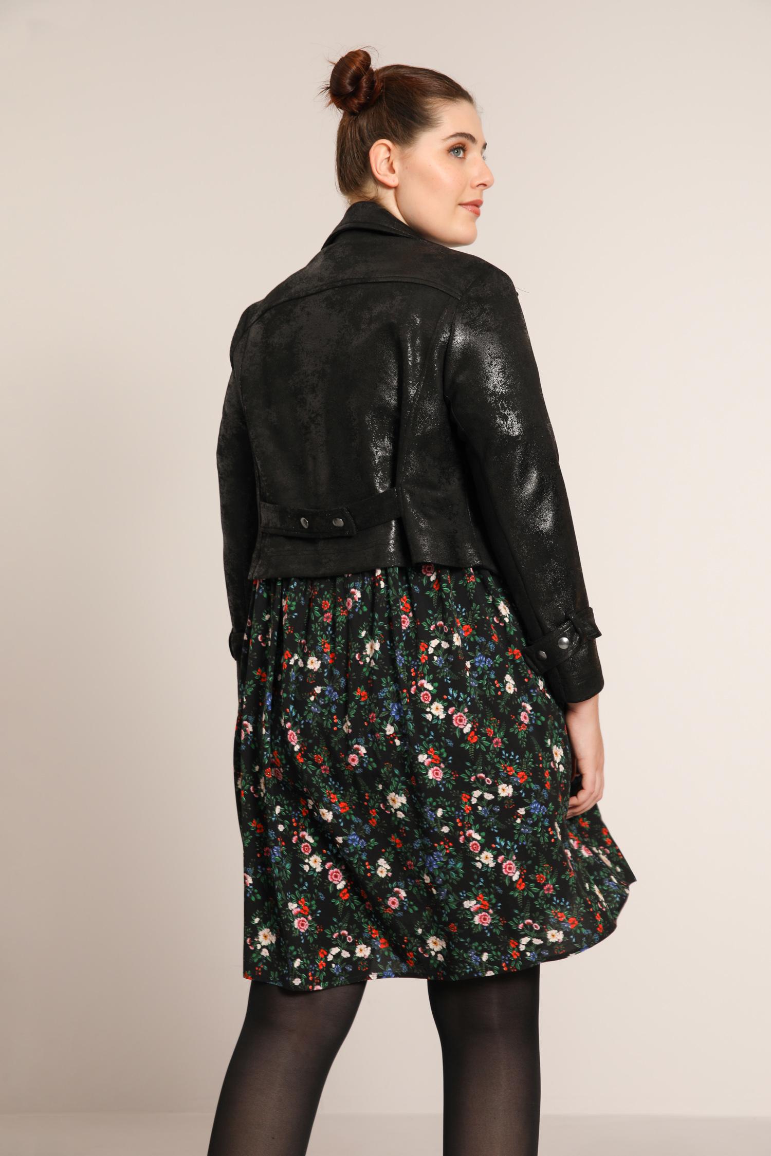 Cropped biker jacket in aged vegan leather