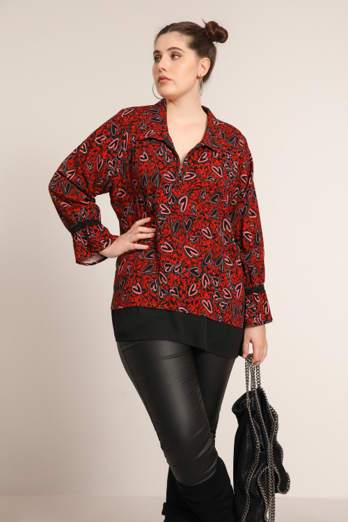 Printed blouse with zipped collar