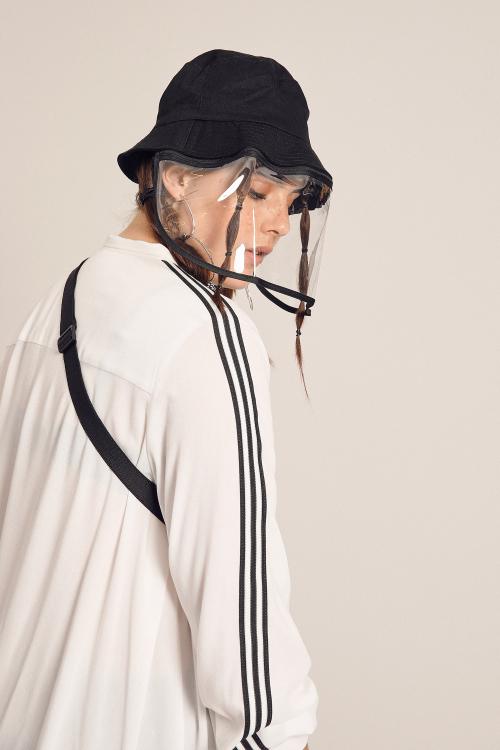 White viscose shirt with bands