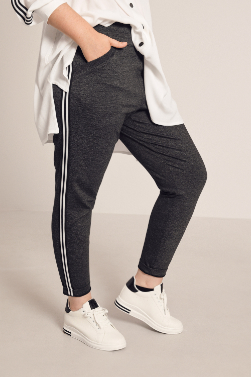 Heather knit pants with side band