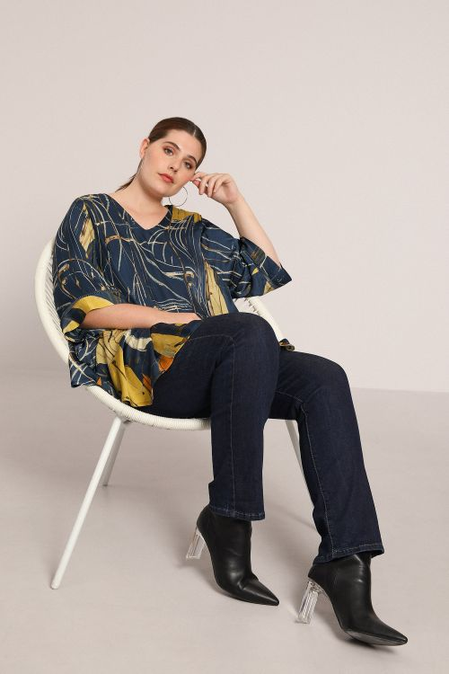 Trapeze blouse with placed design