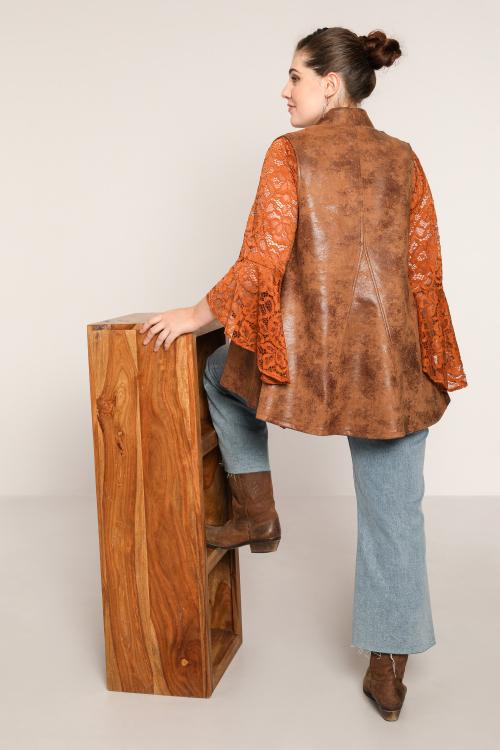 Sleeveless vegan leather jacket