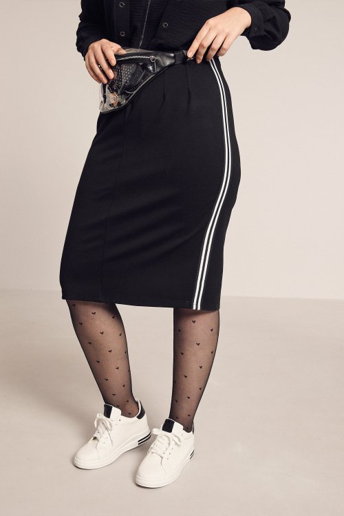 Stretch skirt with bands