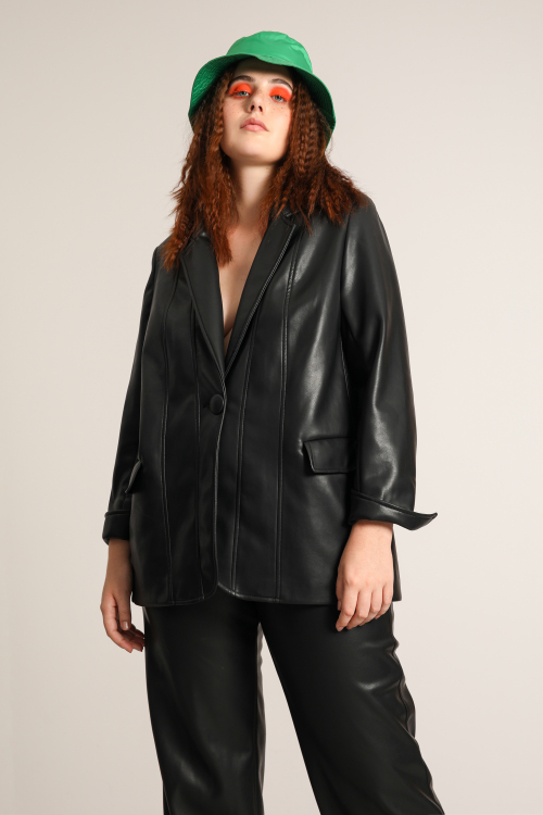 Vegan leather tailored jacket