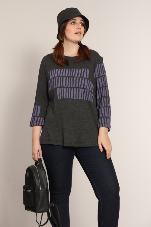 Ribbed knit sweater with screen printing (delivery October 25-30)