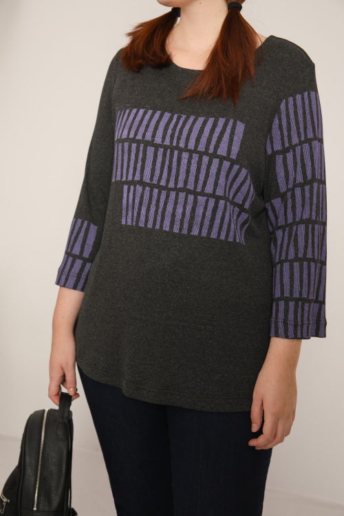 Ribbed knit sweater with screen printing