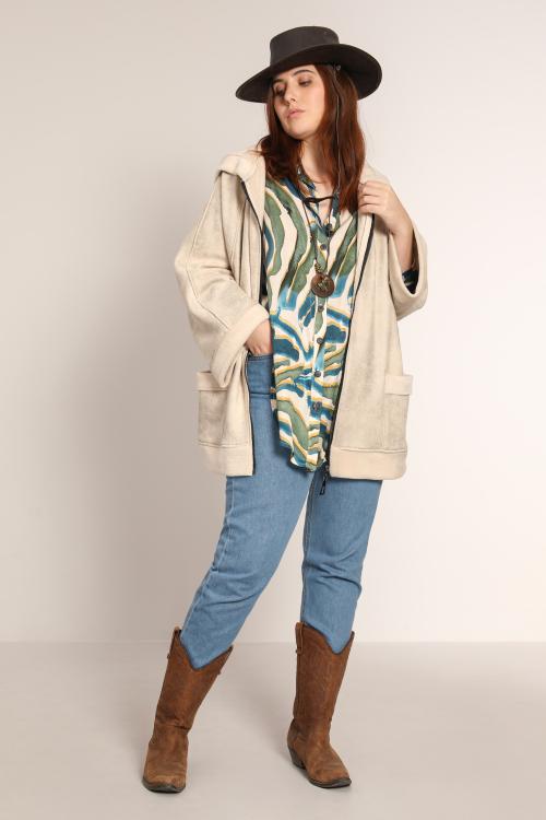 Double-sided faux fur jacket