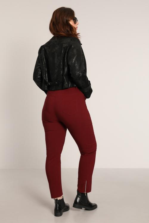Straight pants in bengaline with zip