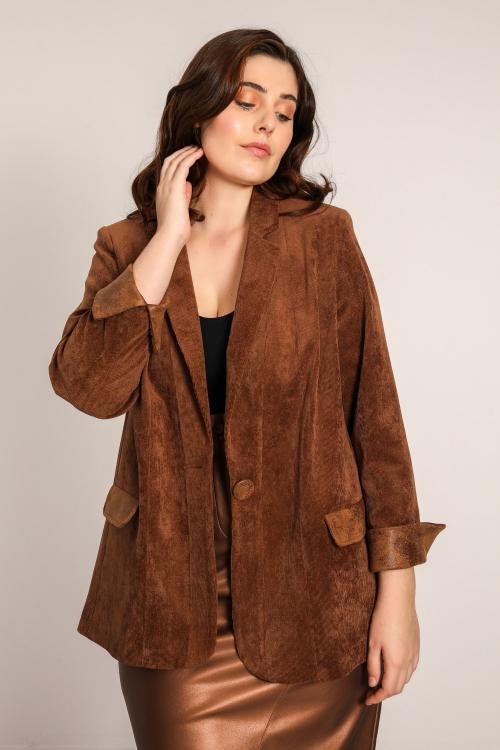 Velvet tailored jacket with vegan leather inserts