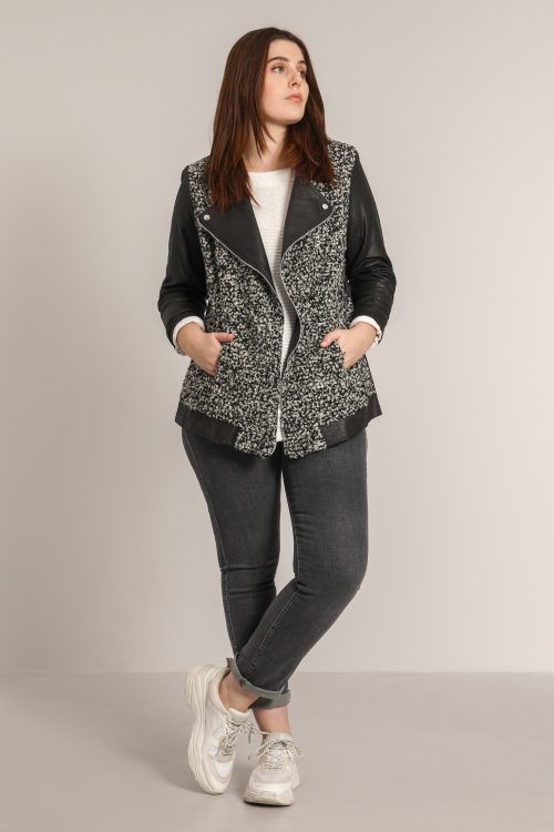 Heathered knit and vegan leather biker jacket