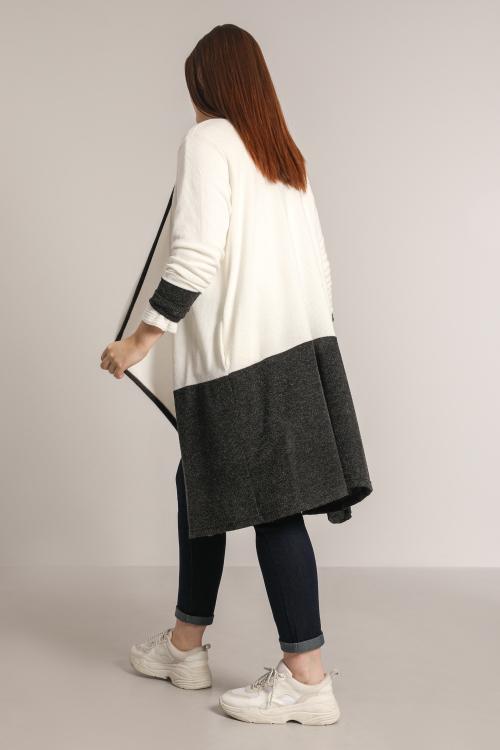 Long two-tone knit cardigan