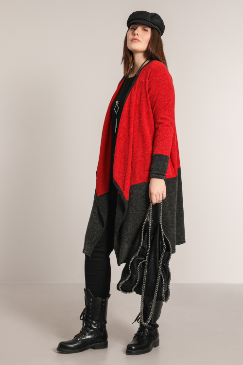 Long two-tone knit cardigan