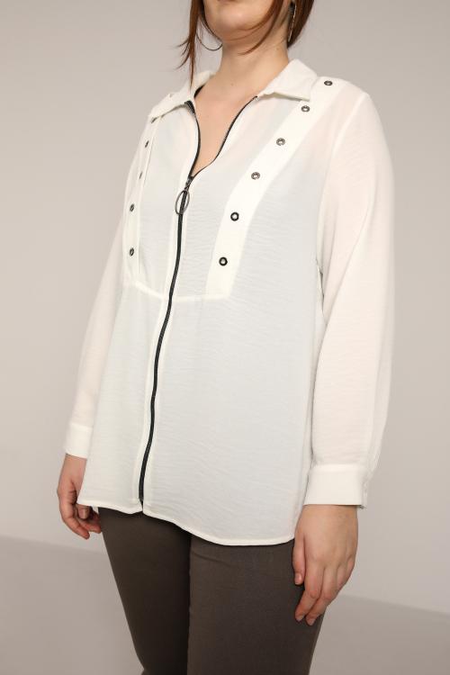 Viscose shirt with eyelet