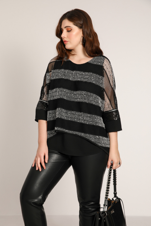 Layered fine-knit striped top